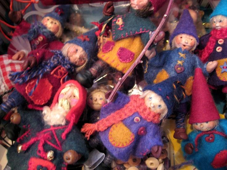 Assemblage of miniature Heinzelman dolls, created in 2008. The work of Lorraine Krahn, in Winnipeg.