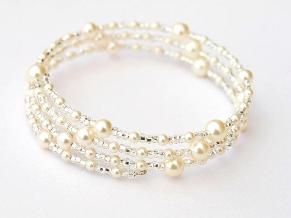 Pearl Bracelet, Bridal Jewellery, Swarovski Pearl Memory Wire Bracelet, Wedding Accessories, Bridal Accessories, Christmas Gifts