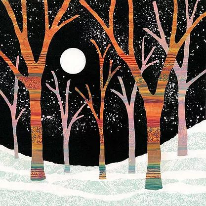 Moonlight Magic monotype painting by UK landscape art Rebecca Vincent trees snow moon colourful patterns textures