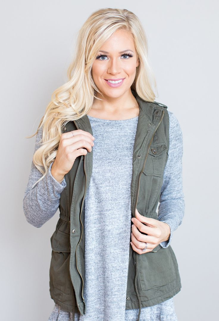 """This darling vest is the perfect fall layering piece! Pictured with the Lynelle ruffle tunic. 100% Cotton Model is 5'7"""" size 6 in a small. Measurements Length Bust Small 26"""" 36"""" Medium 26.5"""" 38"""" Large"""