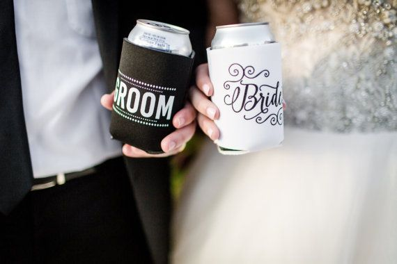 Bride and Groom Can Cooler Wedding Gift Idea Bride and Groom Gift Bride Can Cooler Groom Can Cooler Honeymoon Gift Bridal Shower Gift by SipHipHooray