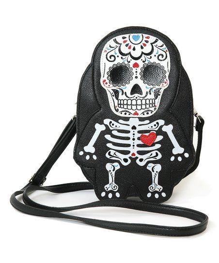 Sleepyville Critters Black & Red Tattooed Skeleton Man Crossbody Bag | zulily
