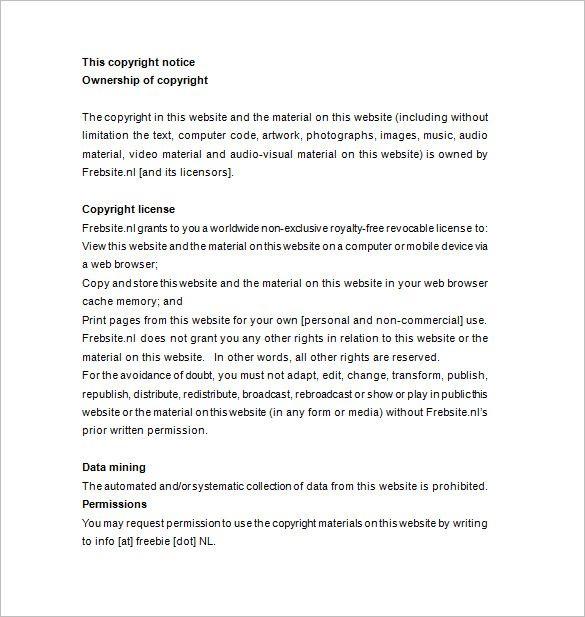 Copyright Notice Format Statement Template Copyright Example Graduation Invitation Wording