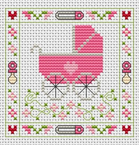 Pink Pram cross stitch card kit