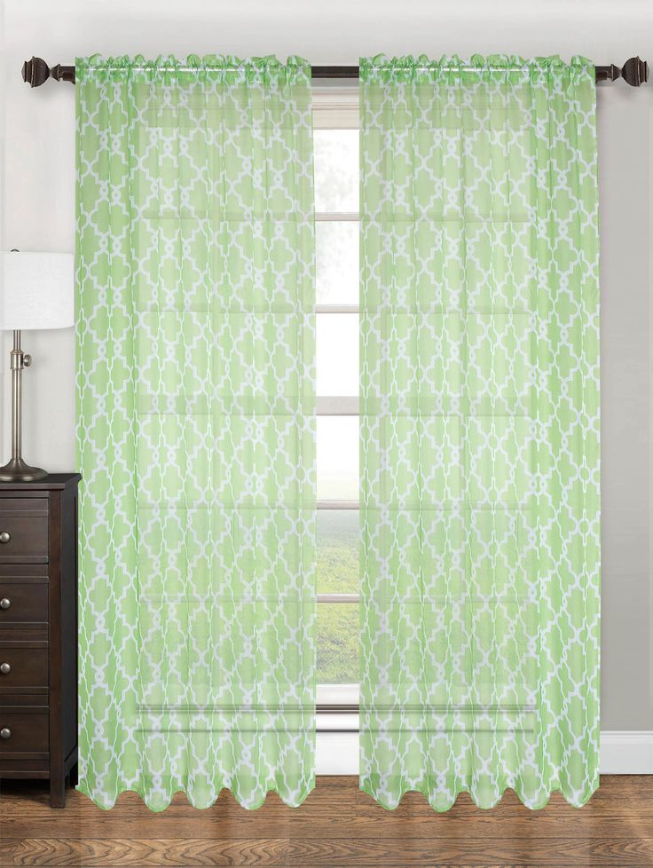 """Sheer Voile Lattice Pattern Printed Curtain Panel with Rod Pocket, 55""""x84"""", Lucy - Lime"""