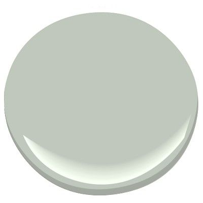Benjamin Moore Gray Wisp, grey toned blue, in a room with no windows or low light it looks green, 95.2 match to Restoration Hardware Silver Sage