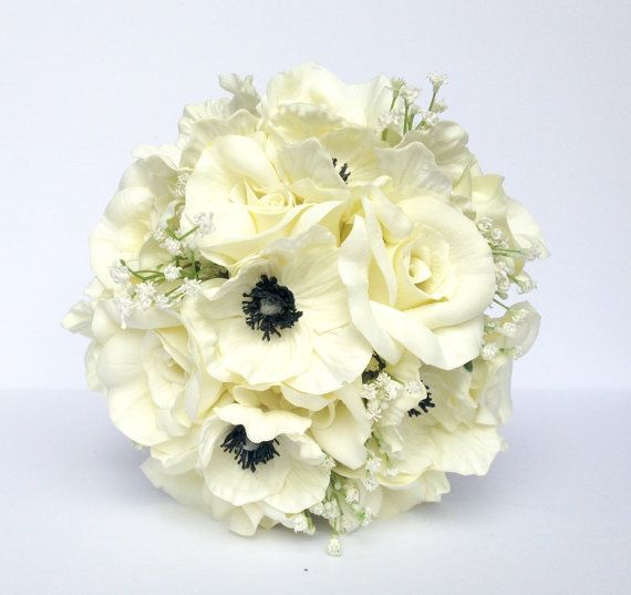 White Anemone Wedding Bouquet Black and White by AdoredOccasions