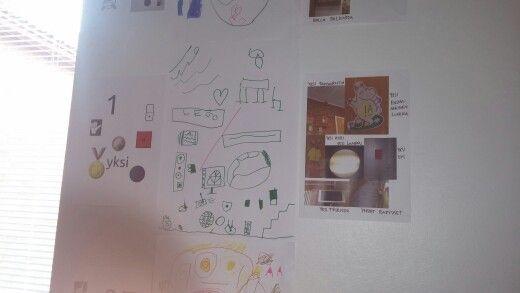 """Lukujen 0-4 ankkurointia pienissä ryhmissä. Oppilaat piirsivät annettuun lukuun liittyviä kuvia ja kävivät ryhmissä kuvaamassa tabletilla lukuun liittyviä asioita. Yksi palovaroitin, ensimmäinen luokka, kaksi oppilasta, kaksi penkkiä, kaksi punaista autoa, neljä ikkunaa. Lopuksi käytiin ryhmien piirustukset ja valokuvat läpi yhdessä. Ope oli tehnyt etukäteen vasemmanpuoleisimman """"ankkurointitaulun"""", joka myös katsottiin."""