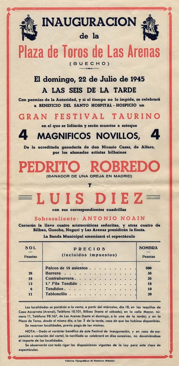 Cartel de inauguración de la plaza de toros de Las Arenas frente al Puente Bizkaia, 1945