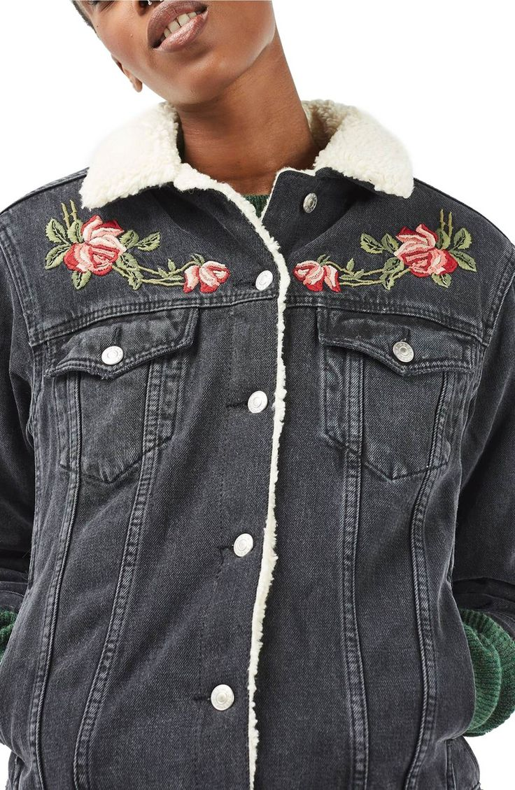 Main Image - Topshop Embroidered Borg Denim Jacket