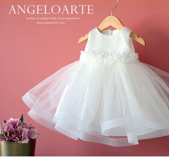 2015 blanco de la gasa vestido de bautizo recién nacido bebés de la boda vestido bautismo batizado bata 1 year vestidos cumpleaños