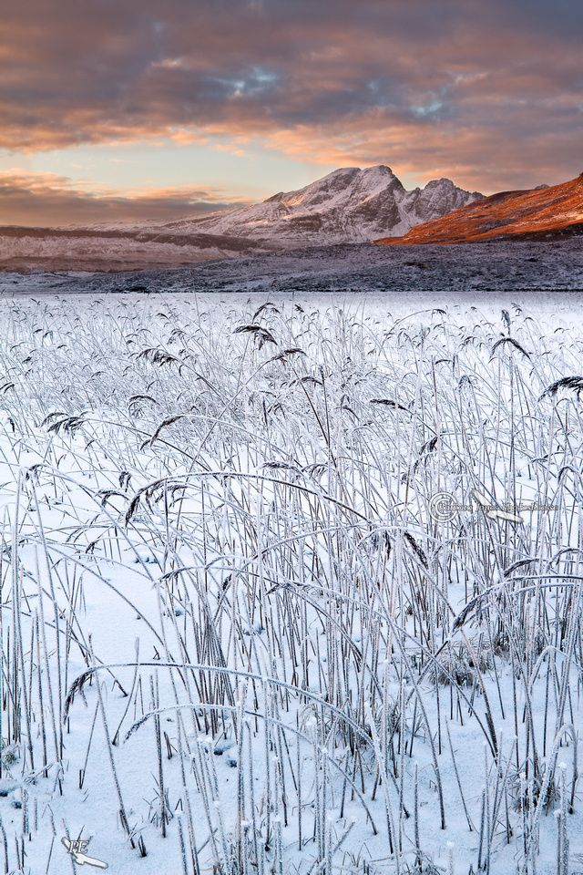 Blaven and Lochan Cill Chriosd. Hoar Frost and Sunset. Isle of Skye. Scotland.
