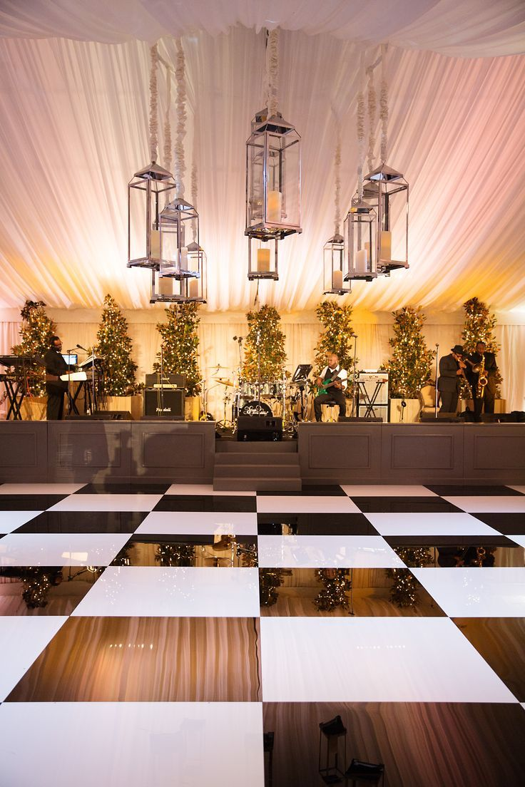 Tented Reception With Black And White Dance Floor And Oversized Lanterns.  Find This Pin And More On Wedding Band Stages ...