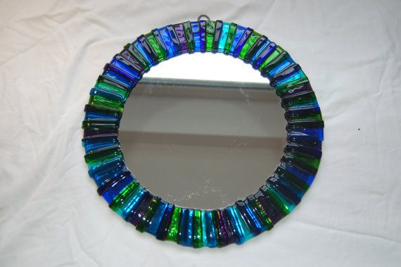 Round fused glass mirror by AndyBullGlassArt on Etsy