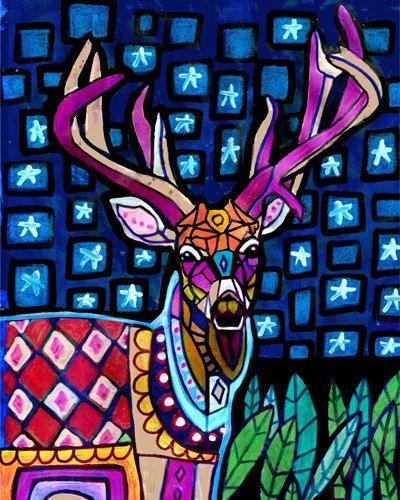 60% Off- Deer Art Antlers Poster Print of Painting by Heather Galler (HG376)