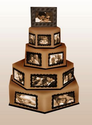 this would be really cute as a graduation cake with pictures of the graduate growing up, or wedding
