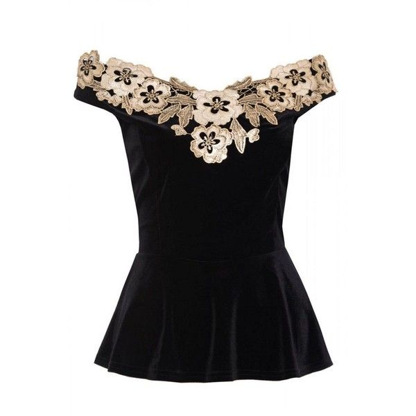 458cc9d8e9f2 Quiz Black velvet bardot peplum top ($36) ❤ liked on Polyvore featuring  tops, party tops, velvet top, peplum tops, velvet peplum top and night out  tops