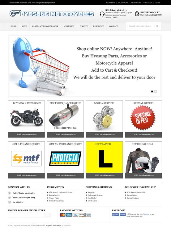 Hyosung New Zealand Magento eCommerce website.  www.hyosungmotorcycles.co.nz