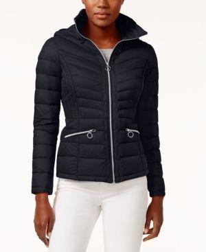 Michael Michael Kors Packable Down Puffer Coat - Blue S