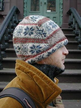 Felted sweater hat using panels.