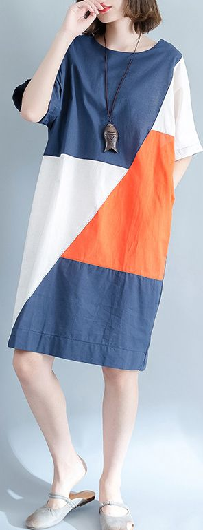 2018blue linen shift dresses casual shirt dress Fine short sleeve patchwork knee dresses