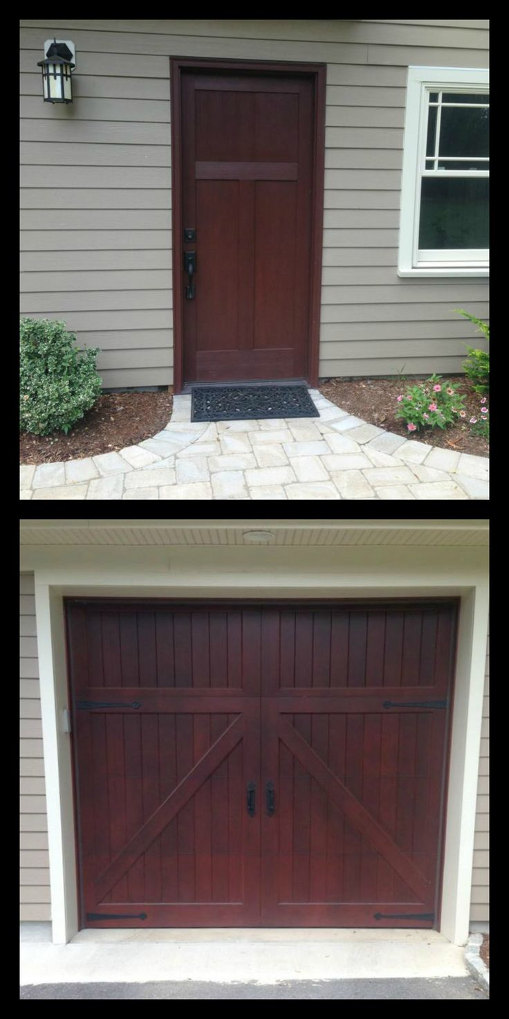 Perfect pairing -  Clopay Craftsman Collection stained fiberglass entry door and  Reserve Collection Limited Edition Series wood carriage house garage door stained to match. True love! www.clopaydoor.com Installed by Aqaurius Door in NJ.