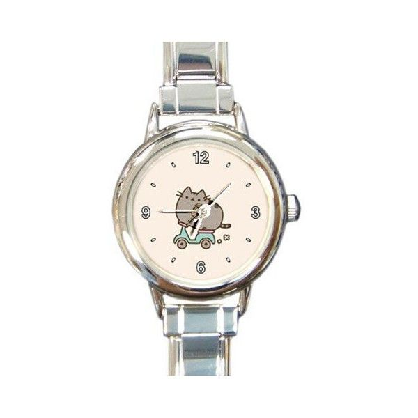 Pusheen The Cat Custom Design Italian Charm Watch#1 ❤ liked on Polyvore featuring jewelry, watches, cat jewelry, cat charms, charm jewelry, charm watches and cat watches
