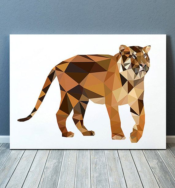 Nice modern Wildlife art. Beautiful Animal print for your home and office. Cute Geometric print. Lovely Tiger poster. SIZES: A4 (8.3 x 11) and A3