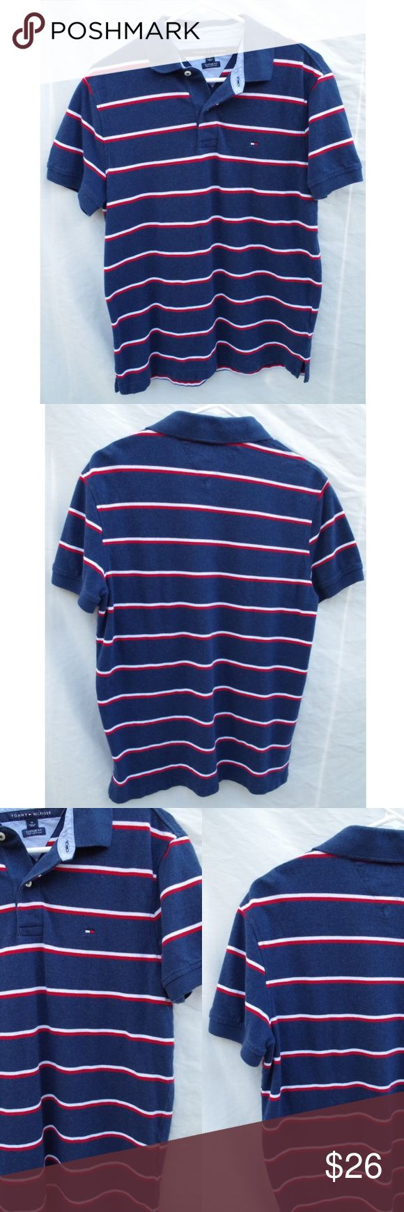 Tommy Hilfiger Striped Classic Collared Polo Shirt Tommy Hilfiger brand. Custom fit Size Medium polo collared button up shirt. Red, white, and navy blue striped color. Classic polo flag on front. Mens but can be worn women's as well, super cute with white jeans or pleated skirt. Good condition, light wear no significant flaws. FREE SURPRISE GIFT WITH EVERY ORDER! Fast shipping! Price negotiable! Tommy Hilfiger Shirts Polos