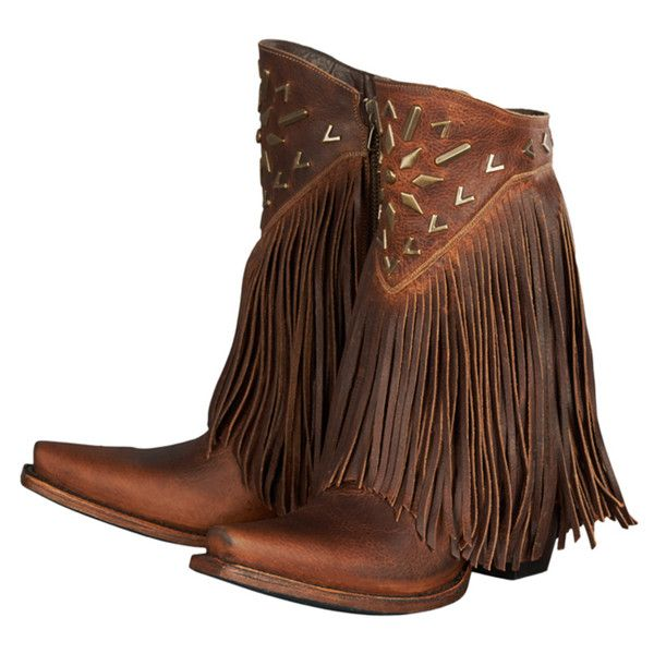 "Lane Boots ""Fringe It"" Women's Leather Cowboy Boot ($470) ❤ liked on Polyvore featuring shoes, boots, mid-calf boots, western boots, cowgirl boots, ankle cowboy boots, fringe boots and short cowgirl boots"