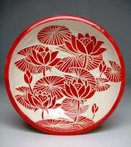 By Takemoto lotus lilly pad bowl sgraffito pottery ceramics clay
