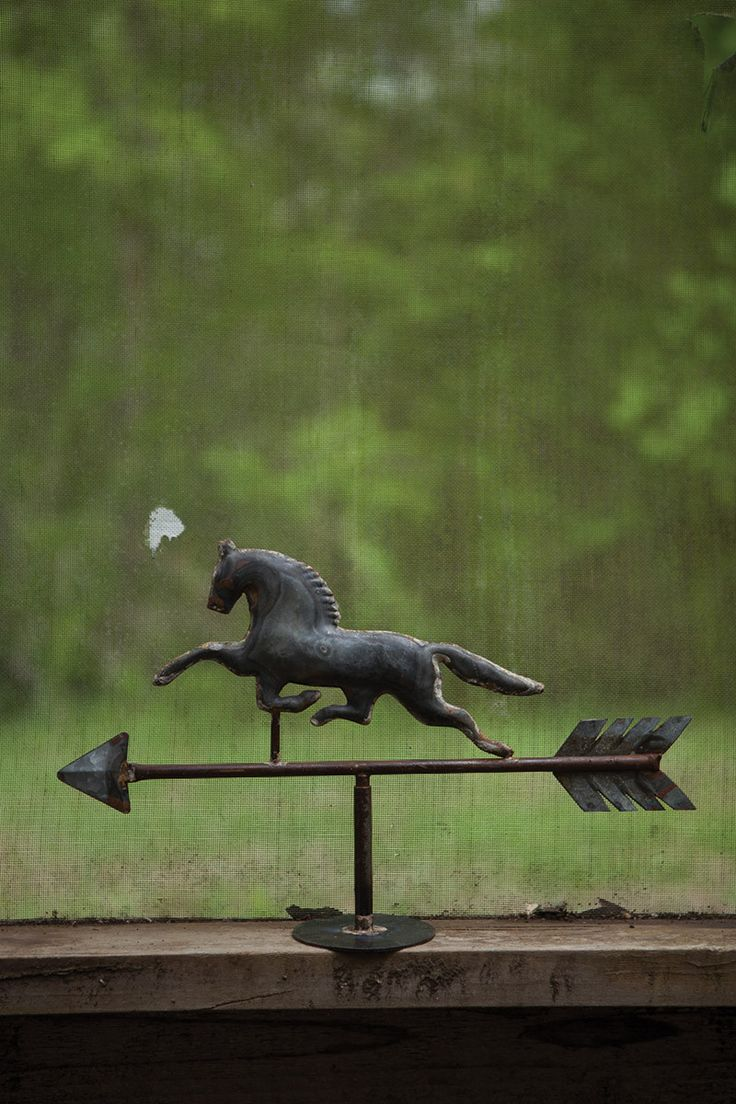 "tabletop zinc weathervane \ horse - $35 - Display this rustic weather vane atop your mantle, bookshelf, or dinning room table. Its aged, rustic finish gives this classic ornament an antique charm that'll only improve with age!  18"" x 11½""t"
