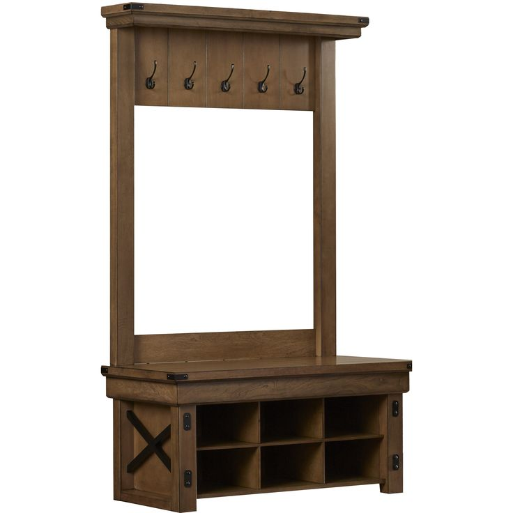 Storage Benches For Halls Part - 28: August Grove Irwin Wood Veneer Entryway Hall Tree With Storage Bench