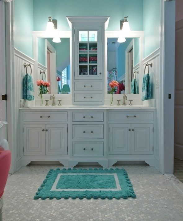 Merveilleux I Love This Color For The Girls Bathroom! Tiffany Blue Paint In White  Bathroom With White Mosaic Floor Tile