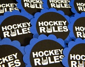 Hockey Rules  - Candy Treat Bag Favors Set of 12. $9.00, via Etsy.