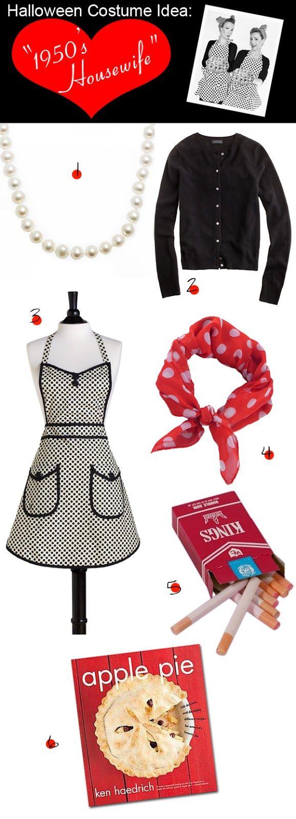 Fashionably Bombed: DIY Halloween Costume: 1950's Housewife Minus the cigs, I like this idea!