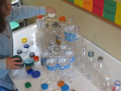 Which lid fits? Gather a variety of bottles with lids and let the kids figure out which lids fit which bottles.  Visual descrimination, thinking, fine motor development.