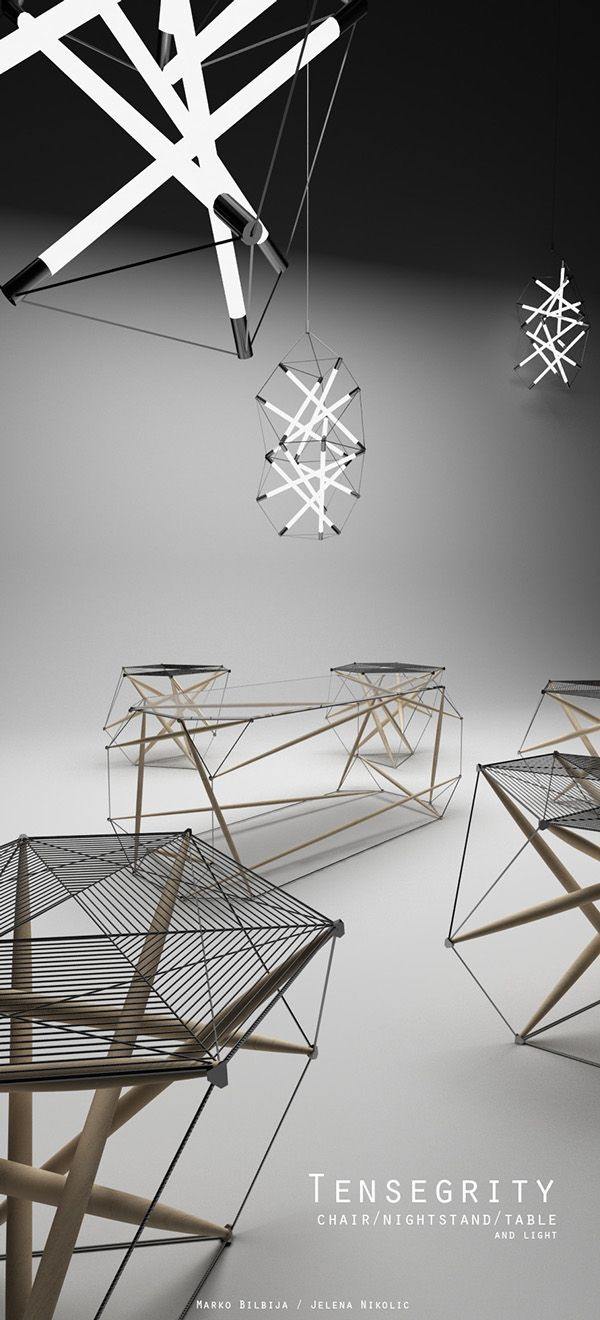 Suspended table by berstein architects - Tensegrity On Behance