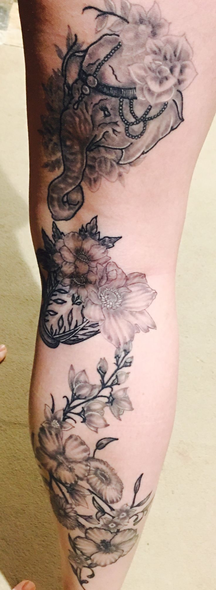 Flower thigh tattoos women fashion and lifestyles - Girl Leg Tattoo In Progress Black And White Flowers Elephant Tattoo