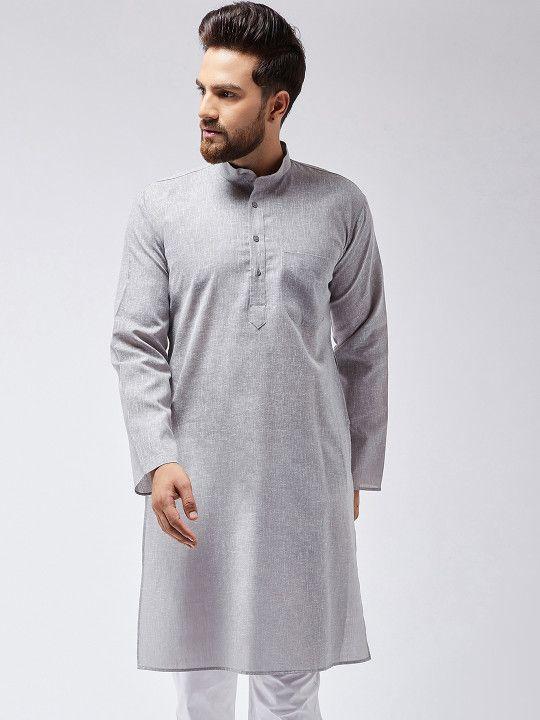 ad7f4710568 SOJANYA Men Grey Solid Straight Kurta - | 799 | Ethnic Wear For Men