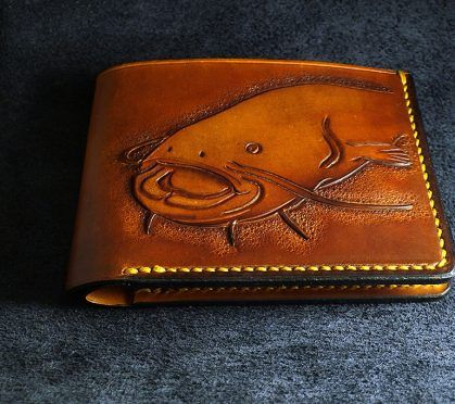 Leather Carved Catfish Wallet