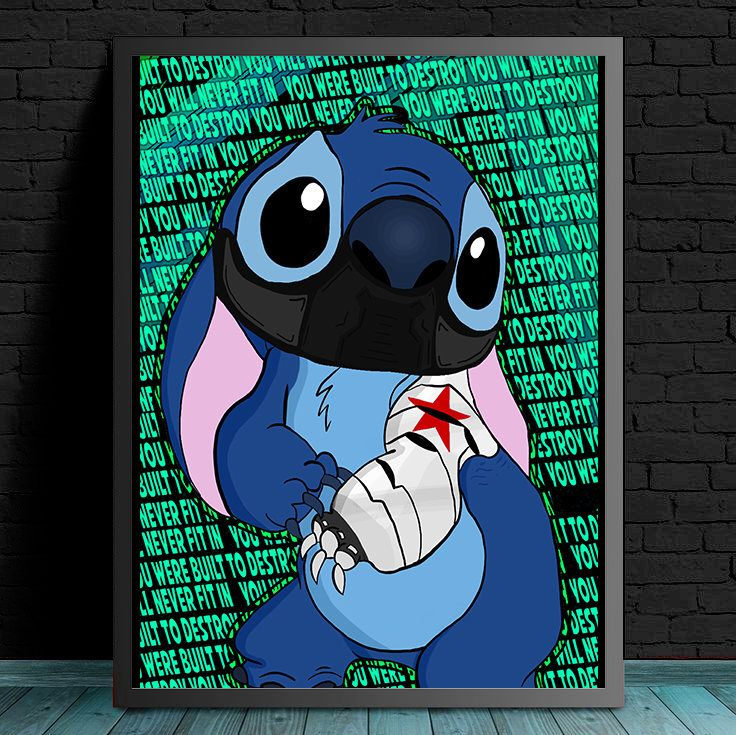 Winter Solider + Stitch - You Were Built To Destroy, You Will Never Fit In by MelbourneComicArt on Etsy https://www.etsy.com/au/listing/536545454/winter-solider-stitch-you-were-built-to