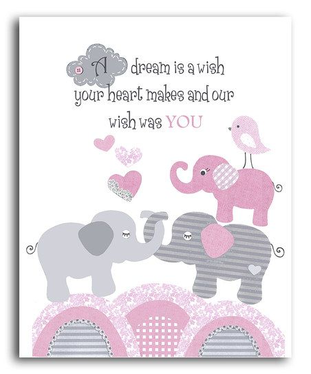 Pink & Gray Elephant 'Our Wish Was You' Print