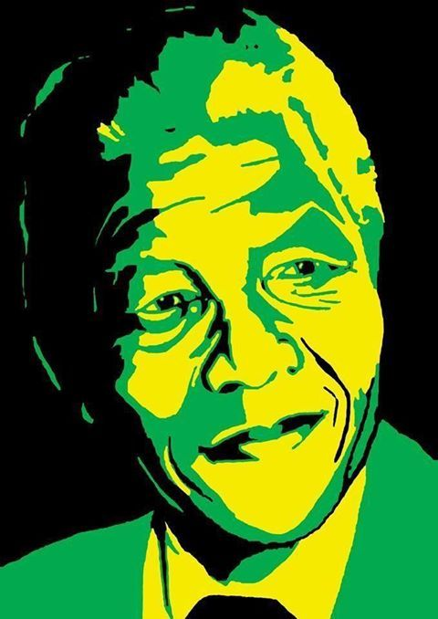Portrait of Madeba painted in the ANC colours.