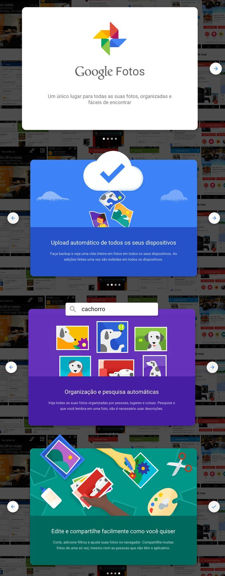 Google Photos onboarding (PTBR) UX User interface
