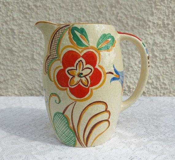 Vintage Hand Painted Ceramic Jug Floral Design Ivory Ware