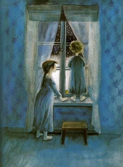 Just about my favourite Christmas book, about little sister Lisabet who gets lost, and then finds her way back all by herself. This scene is before all that takes place, when she and big sister Madicken wake up in the middle of the night, and it's snowing. Artist Ilon Wikland.