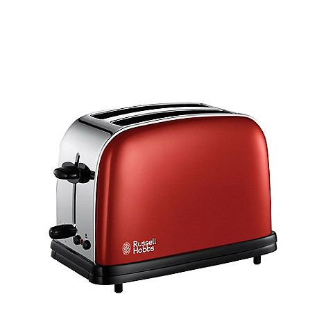 This two slice toaster from Russell Hobbs comes in red stainless steel with six variable settings and hi-lift. It has a 1200 wattage and a removable crumb tray for an easy clean.