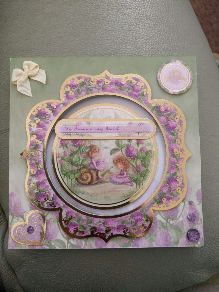 """Hunkydory Crafts Garden Secrets Collection with aperture and floating sentiment """"to someone very special with love"""""""