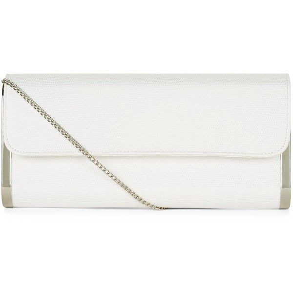 New Look White Metal Side Clutch ($21) ❤ liked on Polyvore featuring bags, handbags, clutches, white pattern, print purse, white purse, pattern purse, white clutches and white handbags